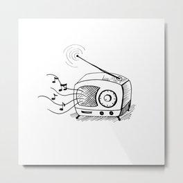 Retro radio hand drawn sketch Metal Print