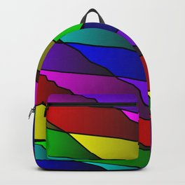 Slanting rainbow lines and rhombuses on red with intersection of glare. Backpack