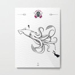 diverr giant squid Metal Print