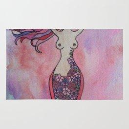 Pink and red floral spiral goddess Rug