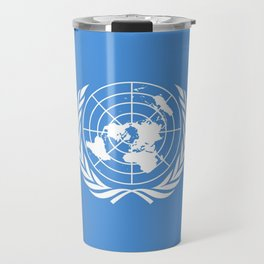 Flag on United nations -Un,World,peace,Unesco,Unicef,human rights,sky,blue,pacific,people,state,onu Travel Mug