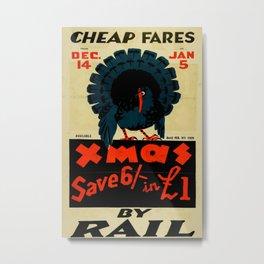 Cheap Fares Vintage Travel Poster Metal Print