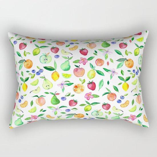 Fresh Fruit - a watercolor pattern Rectangular Pillow