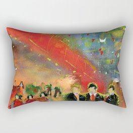 Night out in the city - impressionist watercolor painting Rectangular Pillow