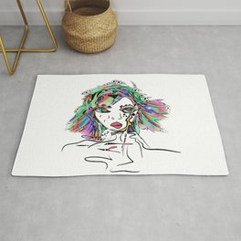 It's always a good day to play with your imagination. Soothing colourful doodle art Boho design Rug