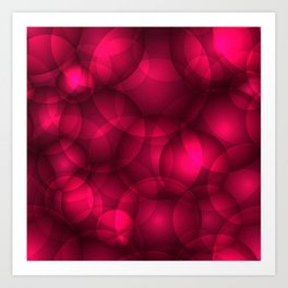 Glowing pink soap circles and volumetric glamorous bubbles of air and water. Art Print