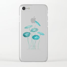 whorled umbrella plant leaf watercolor Clear iPhone Case