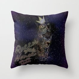 Queen of the House Killer of the mouse (Space) Throw Pillow