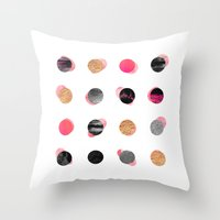 gold dots Throw Pillows featuring Pink & Gold Minimal Dots by Elisabeth Fredriksson