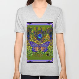 BLUE-PURPLE BUTTERFLY PEACOCK FEATHER PATTERNS Unisex V-Neck