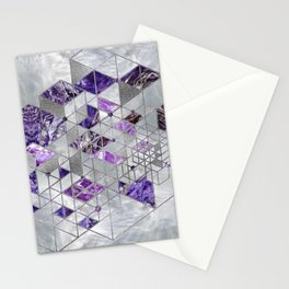 Abstract Geometric Amethyst and Mother of pearl Stationery Cards