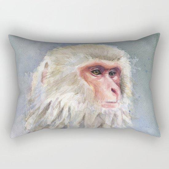 Snow Monkey Watercolor Animal Rectangular Pillow