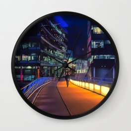 Night time in Media City Wall Clock