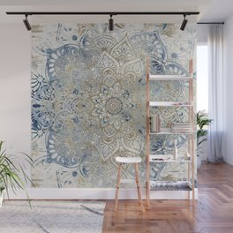 Mandala Flower, Blue and Gold, Floral Prints Wall Mural