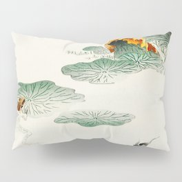 Frog in the swamp  - Vintage Japanese Woodblock Print Art Pillow Sham