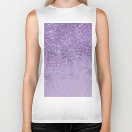 Modern elegant lavender lilac glitter marble Biker Tank