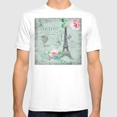 Paris - my love - France Eiffeltower Nostalgy- French Vintage Mens Fitted Tee White MEDIUM