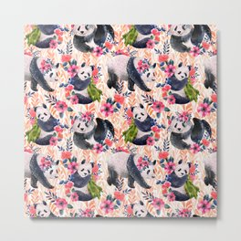 Watercolor pattern with pandas and flowers. Metal Print