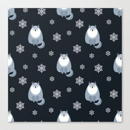 Winter Fox And Snowflakes Canvas Print