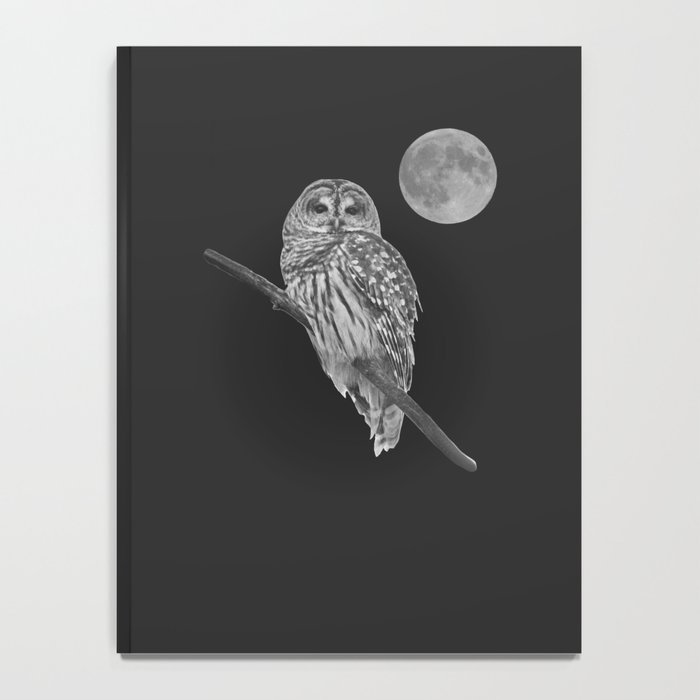 Owl, See the Moon (bw) Notebook