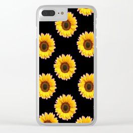 Black Color Sunflowers Pattern  Art Clear iPhone Case