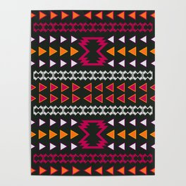 Native pattern in pink and yellow Poster