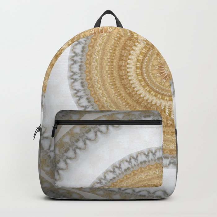 Gold white White and Silver Marble Backpack
