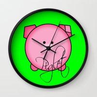 piglet Wall Clocks featuring Piglet by Miaa