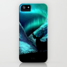 Deer, Mountains, and Aurora Lights iPhone Case