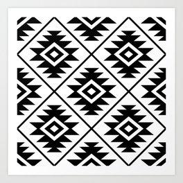 Aztec Symbol Pattern Black on White Art Print
