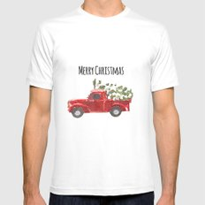 Merry Christmas MEDIUM White Mens Fitted Tee
