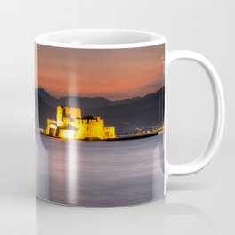 Sunset at the castle of Bourtzi in the bay of Nafplio, Greece  Coffee Mug