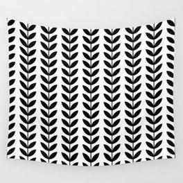 Black Scandinavian leaves pattern Wall Tapestry
