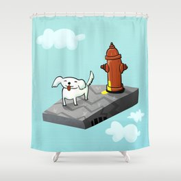 Dog in the sky peeing - Illustration Shower Curtain