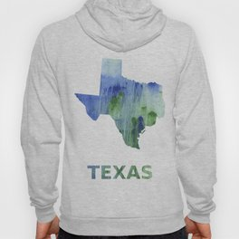 Texas map outline Blue-green watercolor painting Hoody