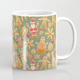 santa claus, gingerbread man, gifts and snowflakes christmas pattern Coffee Mug