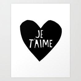 Je T'aime Heart Art Print