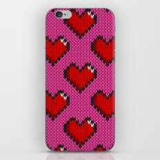 Knitted heart pattern - pink iPhone & iPod Skin