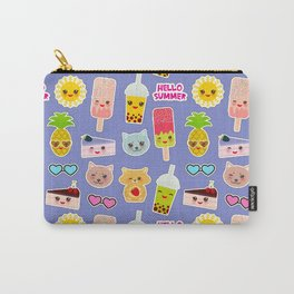 Hello Summer Pineapple, cherry smoothie cup, ice cream, sun, cat, cake, hamster. Kawaii cute face. Carry-All Pouch