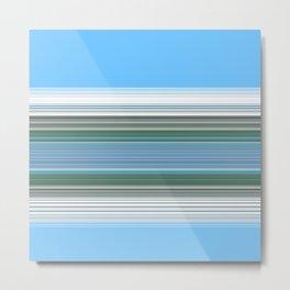 Sky Blue Green Stripes Metal Print