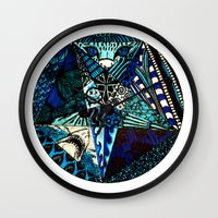 pentagram Wall Clocks featuring Blue Toned Pentagram by Nix Hunt