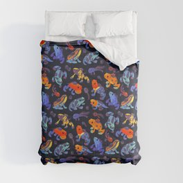 Poison dart frogs - dark Comforters