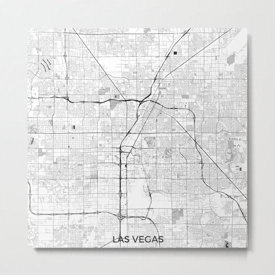 Las Vegas Map Gray Metal Print