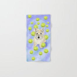 Miss Caroline the Cairn Terrier is Obsessed About Fetching Tennis Balls Hand & Bath Towel