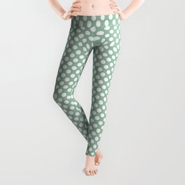 Grayed Jade and White Polka Dots Leggings