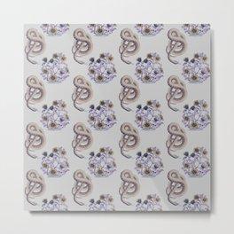 Snake N' Flowers Metal Print