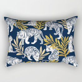 Nouveau white tigers // navy blue background yellow leaves silver lines white animals Rectangular Pillow