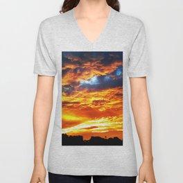 Fantastic Sunset, blue and orange sky Unisex V-Neck