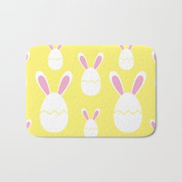 Happy Bunnies in Yellow   Easter Bunny   Easter Egg Bunny   pulps of wood Bath Mat