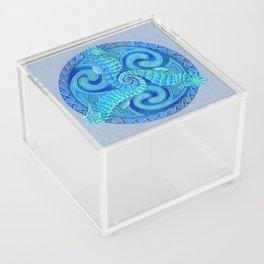 Seahorse Triskele Celtic Blue Spirals Mandala Acrylic Box